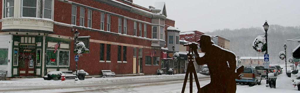 Snowy downtown Utica